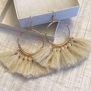 Boho Tassel Earrings, cream color